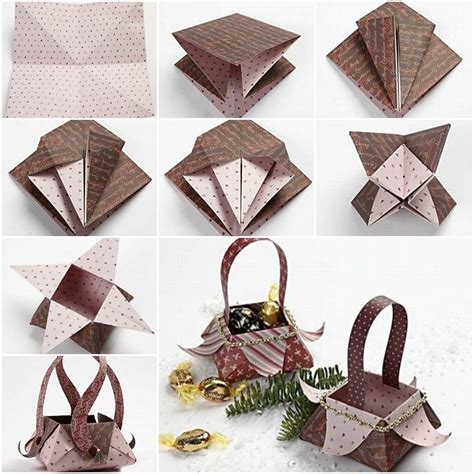 Folded Paper Basket - origami paper basket folding tutorial step by step