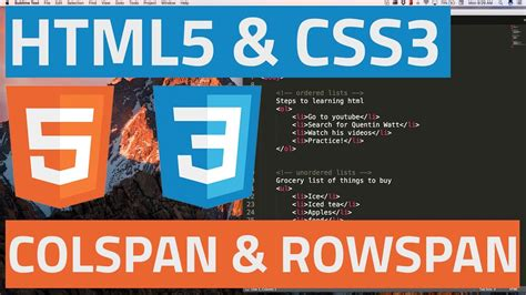 html5 tutorial html5 and css3 beginner tutorial 35 colspan and rowspan