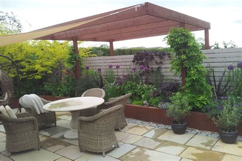 cantilever pergola plans lake courtyard outdoor living space