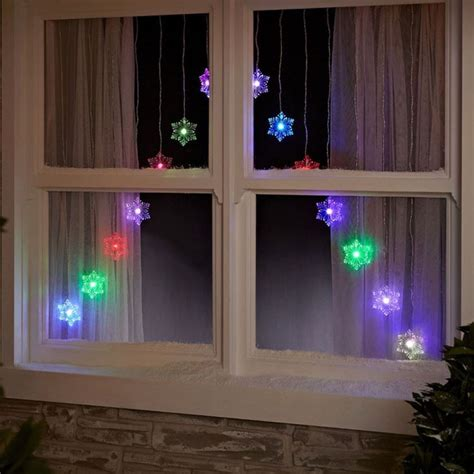 15 led colour changing christmas snowflake v window