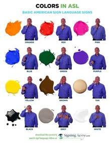 colors in asl sign word list for colors in american sign language asl