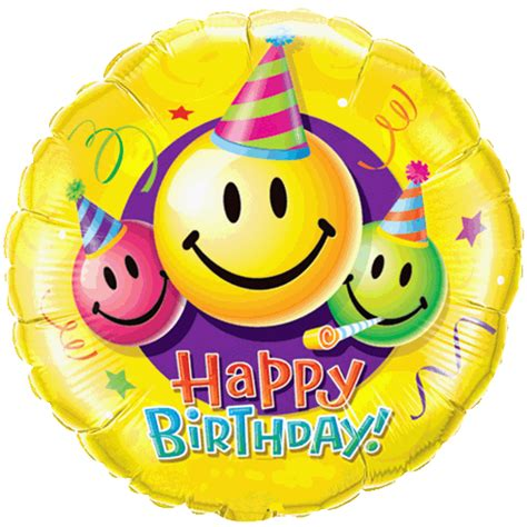 18 happy birthday smiley faces foil balloon 1166 p gif