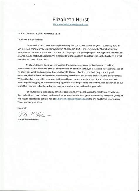 Reference Letter For Graduate School From Coworker Letter Of Recommendation From A Coworker Best Template