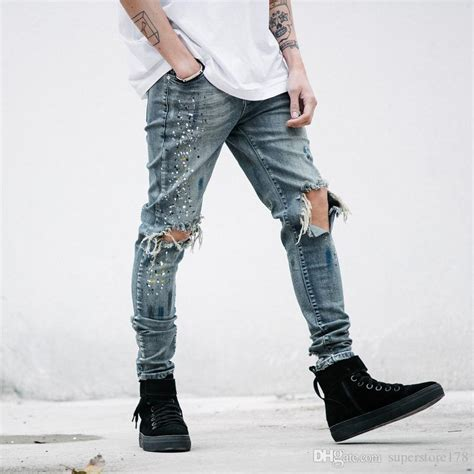 Plan Be Ripped Denim 91003 2018 new ripped for hip hop denim trousers fashion cool destroyed