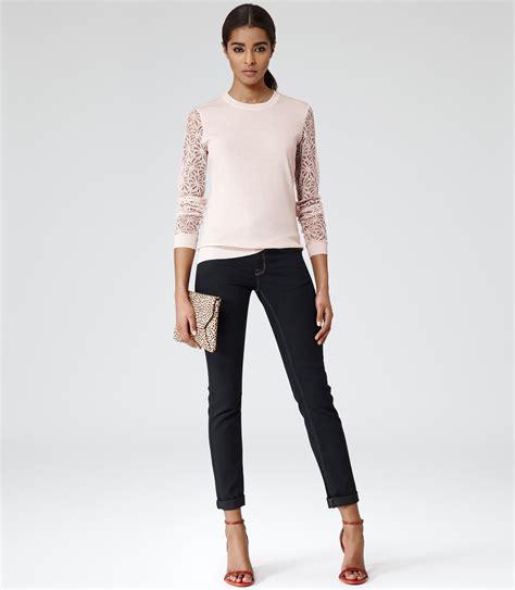 sin cara arm sleeves reiss cara lace sleeve jumper in pink lyst