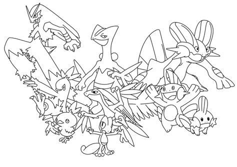pokemon unova coloring pages hoenn starters by i grogan on deviantart