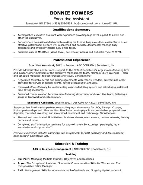 executive administrative assistant resume sles executive administrative assistant resume sle