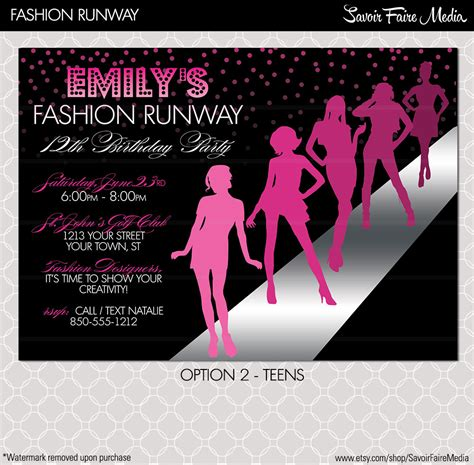 fashion show invitation card templates fashion show invitation project runway inspired birthday