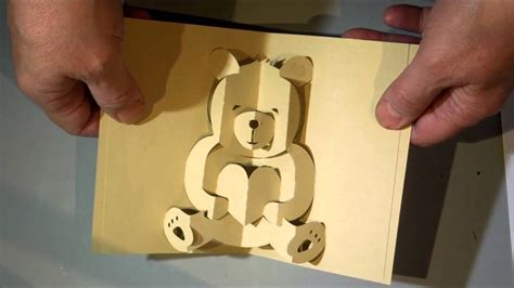 Teddy Pop Up Card Template Free by Kirigami Pop Up Card