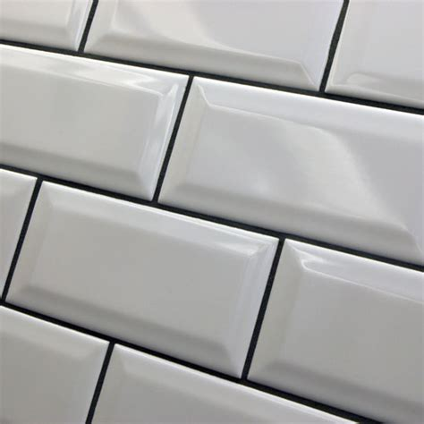 bevel brick white is a white gloss bevel edge wall tile by 15x7 5cm millenium a mini version of the bevel tile by
