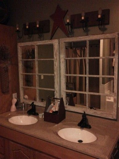 primitive bathroom mirrors windows repurposed into mirrors only for a guest
