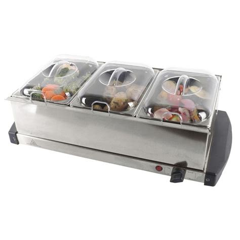 New Stainless Steel Electric 3 Pan Buffet Food Server Buffet Food Warmers Stainless Steel