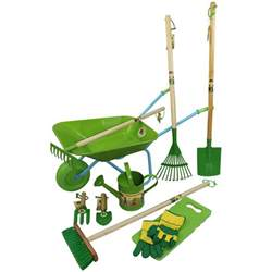 childrens wheelbarrow garden tools and watering can set