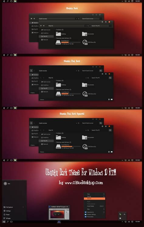 themes windows 10 ubuntu ubuntu dark theme for windows 10 rtm by cleodesktop on