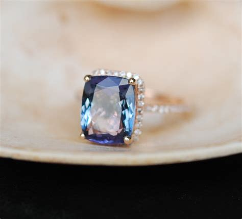 Tanzanite Engagement Rings by Tanzanite Ring Gold Engagement Ring Lavender Mint
