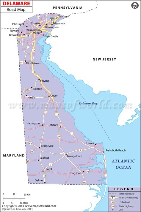 printable road map of delaware delaware road map