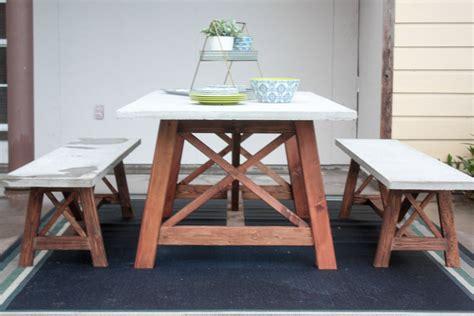 ana white  base outdoor concrete table  bench set