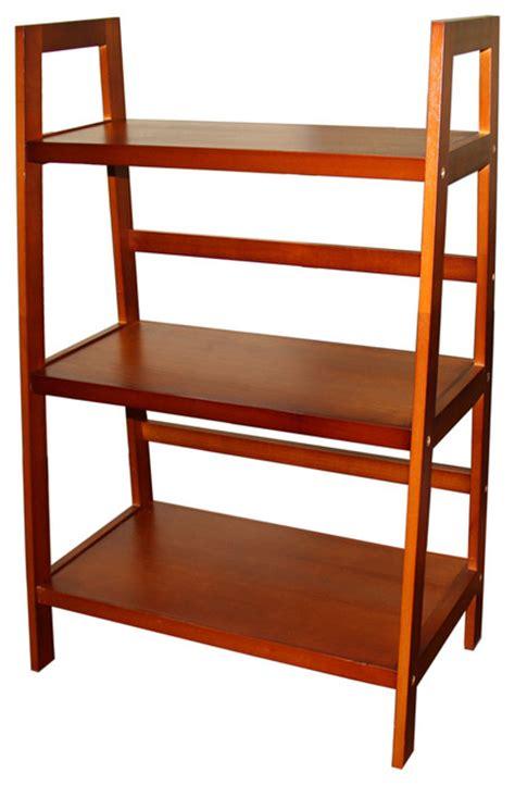 three tier ladder shelf in walnut finish