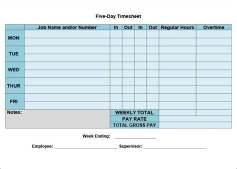 template weekly free timesheet calculator with lunch timesheet