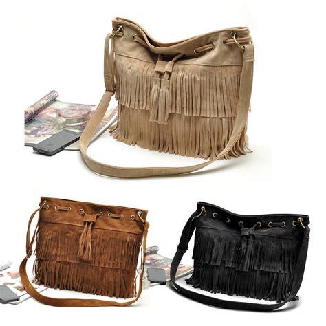 Tas Wanita Imitation Suede Fringe Tassel Shoulder Handbag Crossbody Bags For Faux Suede Fringe Tassel Shoulder