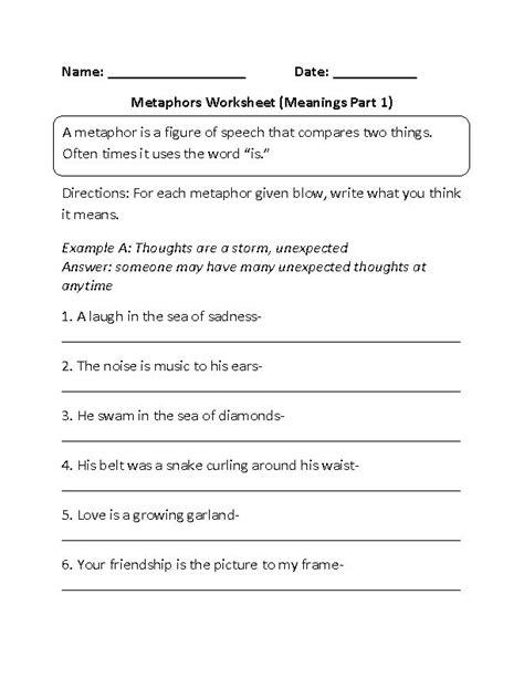 Metaphors Worksheets by Englishlinx Metaphors Worksheets Englishlinx
