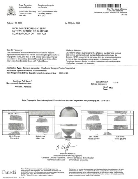 Canadian Criminal Record Check Report Rcmp Certificate Outside Canada Canada Visajourney