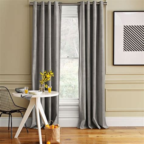 Curtains For Gray Walls Velvet Window Panel Dove Gray Traditional Curtains By West Elm