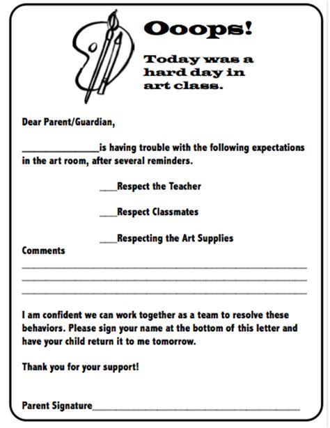 up letter to parents behavior letter to parents i could make one of these for