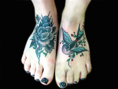 Rose foot tattoos designs and ideas