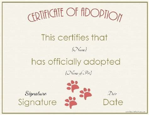 Pet birth certificate template birth certificate template 31 free free adoption certificate template customize online yelopaper Choice Image