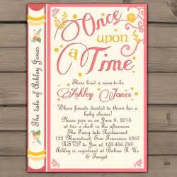 once upon a time baby shower invitation shower invite pink coral yellow tales storybook