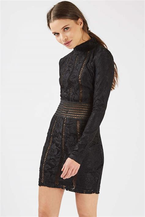 Sleeve Neck high neck sleeve lace dress by dresses