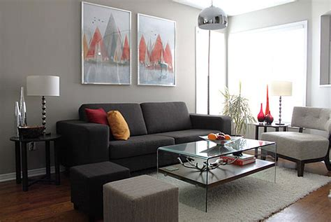 living room in grey modern living room with grey color dands
