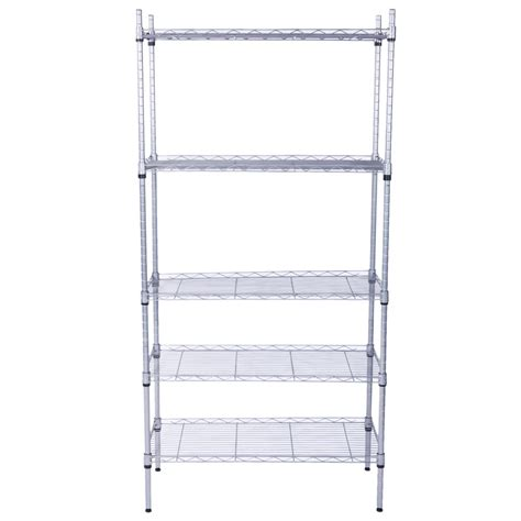 5 Tier Garage Wire Metal Shelving Unit Commercial Steel Heavyduty Storage Shelf Auctions Buy Wire Shelving Installation Template