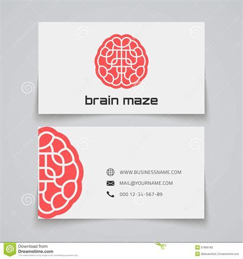 business card template with watermark business card template brain maze concept logo stock