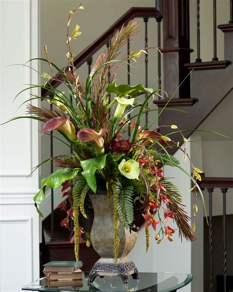home floral decor decoration entry design with faux floral arrangements and