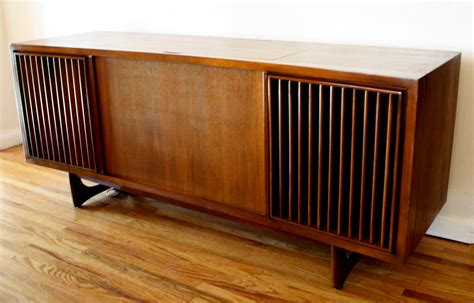 record player stereo cabinet mid century modern slatted stereo record player rca