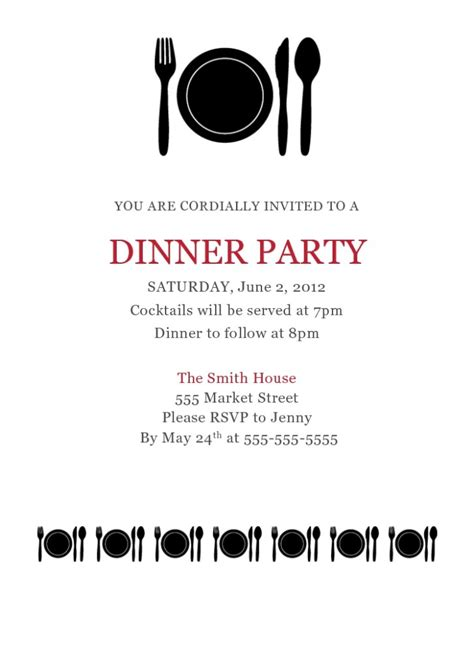 dinner invitation templates free dinner invitation template free ctsfashion for business