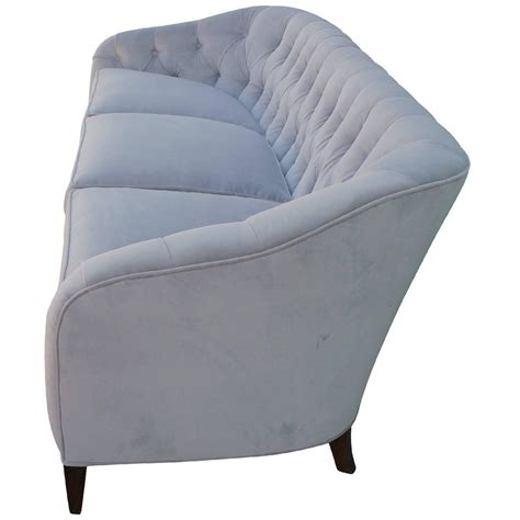 glamorous tufted baker sofa in dove grey velvet mohair for