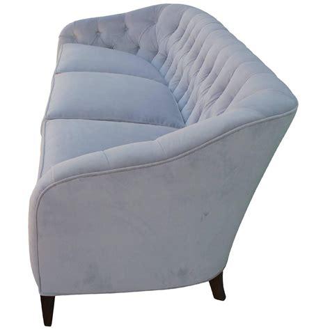 Glamorous Tufted Baker Sofa In Dove Grey Velvet Mohair For Grey Velvet Tufted Sofa