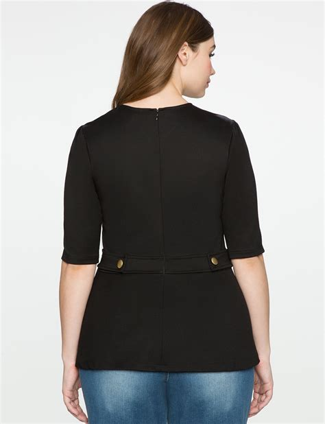 Button Detail Sleeve Top sleeve button detail top s plus size tops