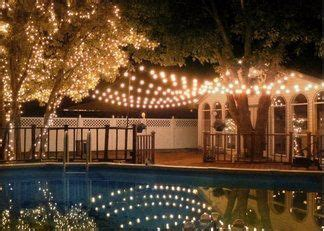 String Lights Over The Pool Make Beautiful Reflections String Lights Pool