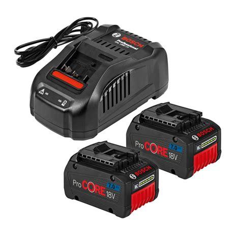 bosch 18v battery charger bosch 18v lithium ion procore starter set 2x 7 0ah