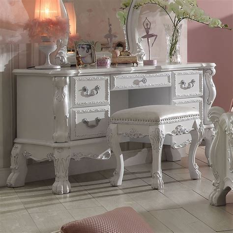 dresden youth vanity desk antique white acme furniture