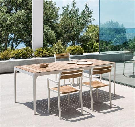 tavolo da esterni tavolo rettangolare in alluminio e top in teak pietra