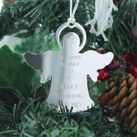 personalized silver memorial angel ornament  catholic company