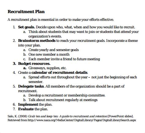 recruitment plan template 10 recruiting plan templates sle templates