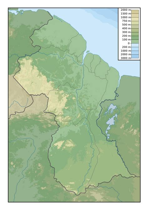 guyana south america map detailed physical map of guyana guyana south america