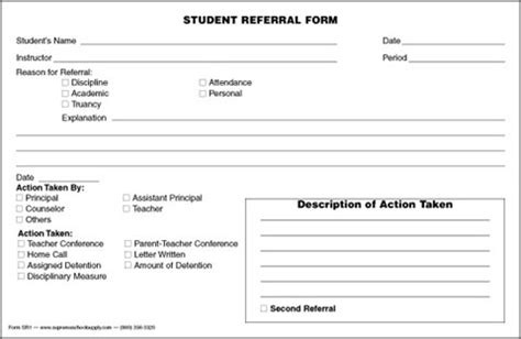 student discipline form template student referral form srf1 supreme school supply