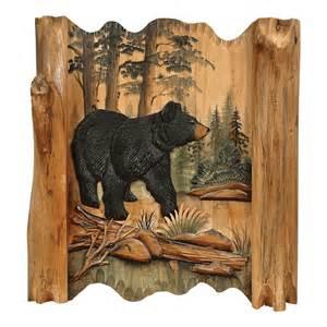 Black Bear Decor Black Bear Forest Carved Wood Wall Art